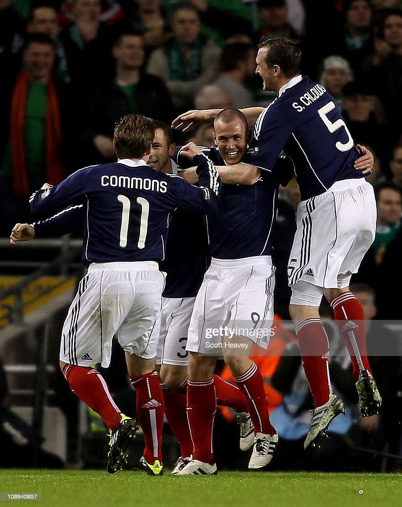 Kenny Miller of Scotland celebrates after scoring their first goal during the Carling Nations Cup match between Northern Ireland and Scotland at the Aviva Stadium on February 9, 2011 in Dublin, Ireland.
