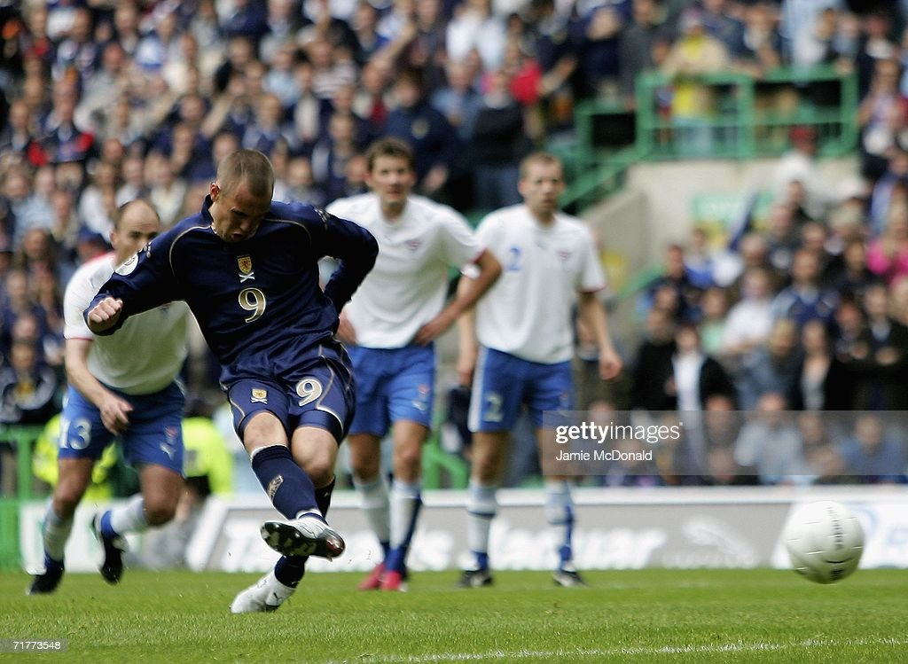 Kenny Miller of Scotland scores a goal during the Euro 2008 Qualifying Group B match between Scotland and Faroe Islands at Celtic Park on September 2, 2006 in Glasgow, Scotland