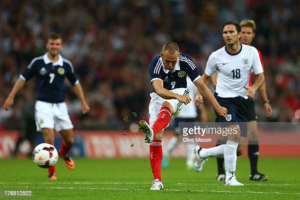 Kenny Miller of Scotland scores a goal during the International Friendly match between England and Scotland at Wembley Stadium on August 14 2013 in...