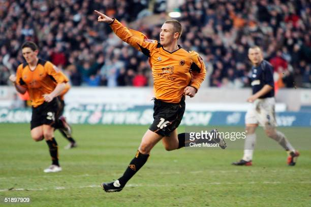 Kenny Miller of Wolves celebrates his goal during the Coca Cola Championship match between Wolverhampton Wanderers and Brighton and Hove Albion at...