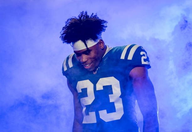 Kenny Moore II of the Indianapolis Colts take the during team introductions before the start of the game against the Jacksonville Jaguars at Lucas...