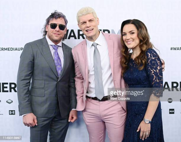 Kenny Omega and Cody Rhodes of TNT's All Elite Wrestling attend the WarnerMedia Upfront 2019 arrivals on the red carpet at The Theater at Madison...