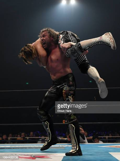 Kenny Omega and Hiroshi Tanahashi compete in the tag match during the Power Struggle Super Jr Tag League 2018 at Edion Arena Osaka on November 03...