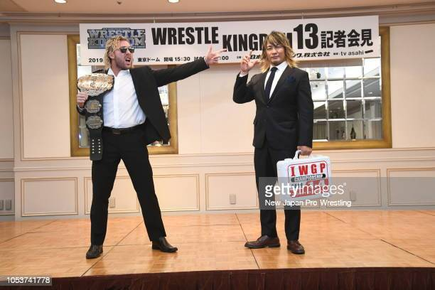 Kenny Omega and Hiroshi Tanahashi during a press conference of the Wrestle Kingdom 13 at Meiji Kinenkan on October 9 2018 in Tokyo Japan