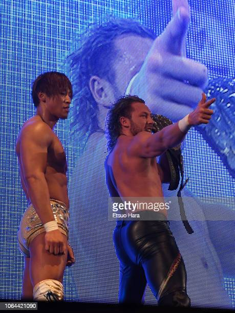Kenny Omega and Kota Ibushi look on after the tag match during the Power Struggle Super Jr Tag League 2018 at Edion Arena Osaka on November 03 2018...