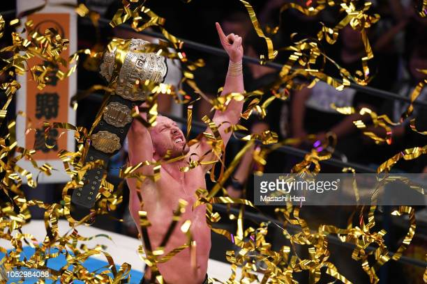 Kenny Omega celebrates after the 3 Way match against Cody and Kota Ibushi during the King of ProWresting at Ryogoku Kokugikan on October 8 2018 in...