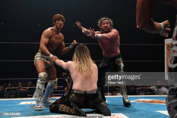 Kenny Omega Kota Ibushi and David Finlay compete in the tag match during the Power Struggle Super Jr Tag League 2018 at Edion Arena Osaka on November...