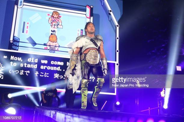 Kenny Omega vs Hiroshi Tanahashi during the IWGP HEAVYWEIGHT CHAMPIONSHIP Wrestle Kingdom 13 at Tokyo Dome on January 4 2019 in Tokyo Japan