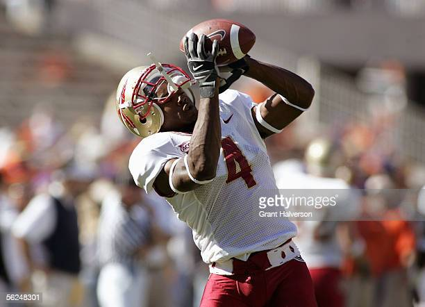 Kenny O'Neal of the Florida State Seminoles warms up with a catch prior to taking on the Clemson Tigers in an Atlantic Coast Conference game on...