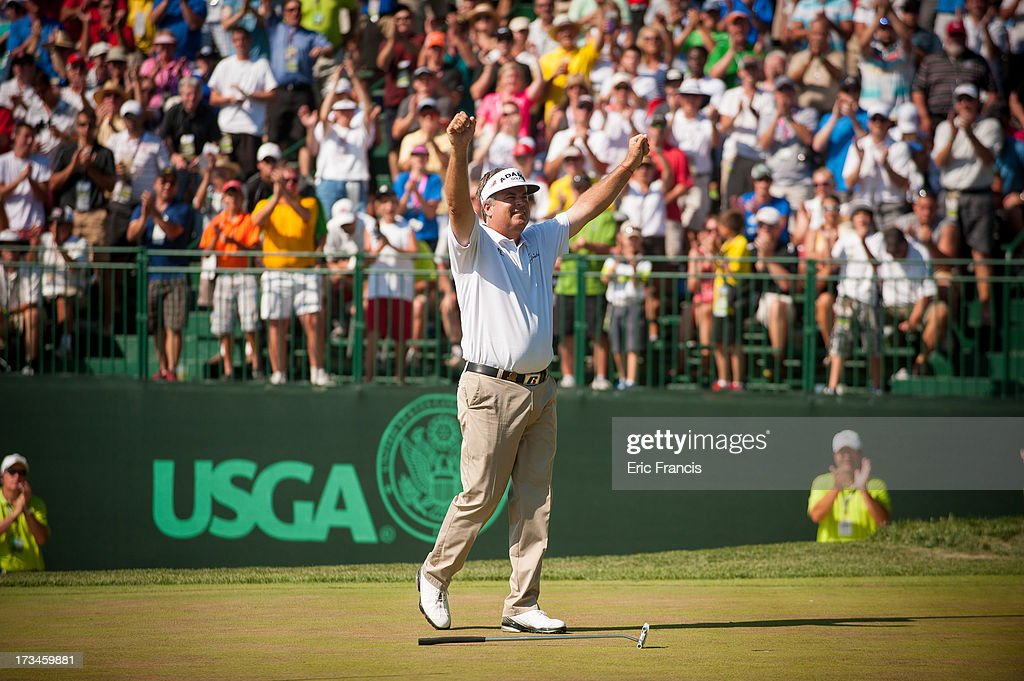 Kenny Perry celebrates after winning the 2013 U.S. Senior Open Championship at Omaha Country Club on July 14, 2013 in Omaha, Nebraska.