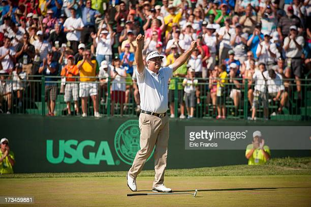Kenny Perry celebrates after winning the 2013 US Senior Open Championship at Omaha Country Club on July 14 2013 in Omaha Nebraska
