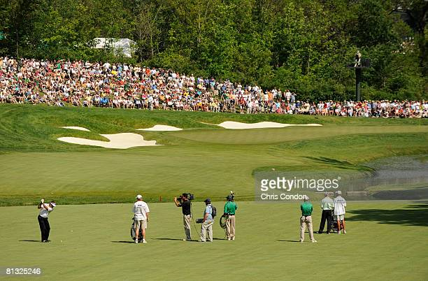 Kenny Perry hits his approach from the 14th fairway during the final round of the Memorial Tournament Presented by Morgan Stanley at Muirfield...