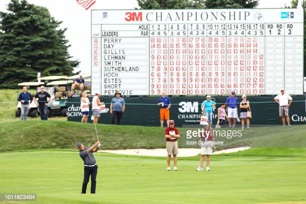 Kenny Perry hits his approach shot on the 18th hole during the final round of the 3M Championship on August 8 2018 at TPC Twin Cities in Blaine...