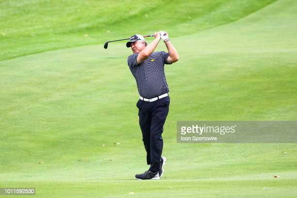 Kenny Perry hits his second shot on the 12th hole during the final round of the 3M Championship on August 8 2018 at TPC Twin Cities in Blaine...