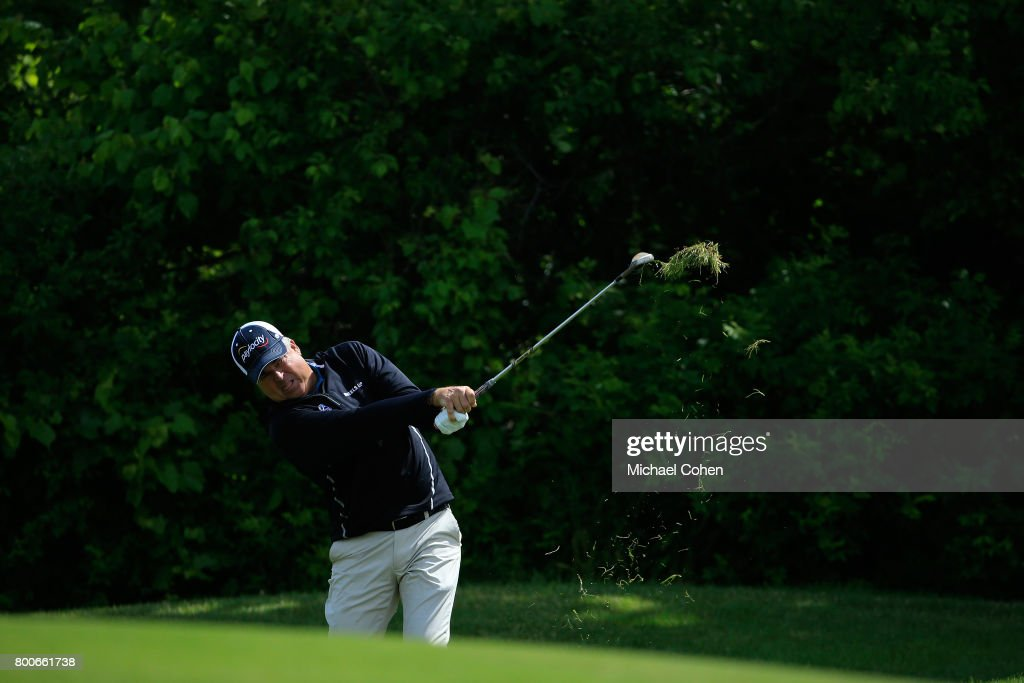 Kenny Perry hits his second shot on the first hole from the rough during the second round of the American Family Insurance Championship held at University Ridge Golf Course on June 24, 2017 in Madison, Wisconsin.