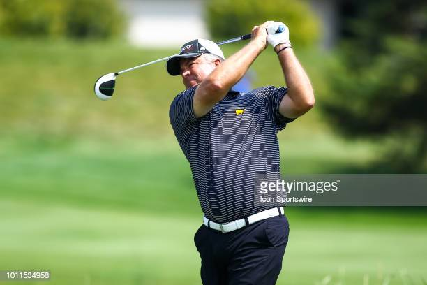 Kenny Perry hits his tee shot on the first hole during the final round of the 3M Championship on August 8 2018 at TPC Twin Cities in Blaine Minnesota