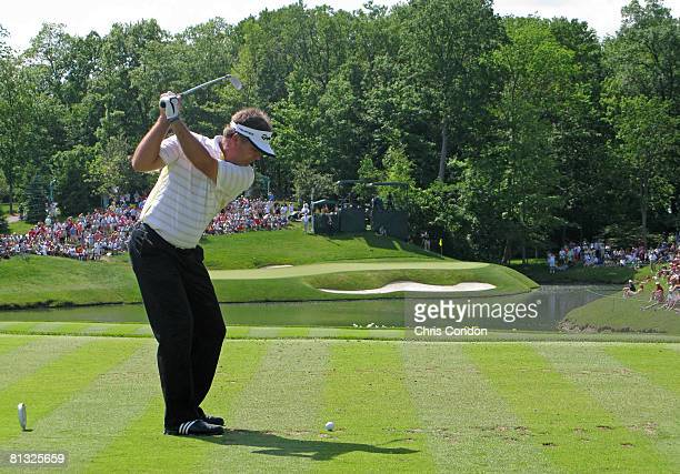 Kenny Perry hits his tee shot on the par 3 12th hole during the final round of the Memorial Tournament Presented by Morgan Stanley at Muirfield...
