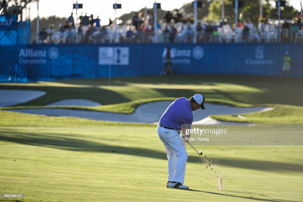 Kenny Perry plays his third shot on the 18th hole during the second round of the PGA TOUR Champions Allianz Championship at The Old Course at Broken Sound on February 11, 2017 in Boca Raton, Florida.