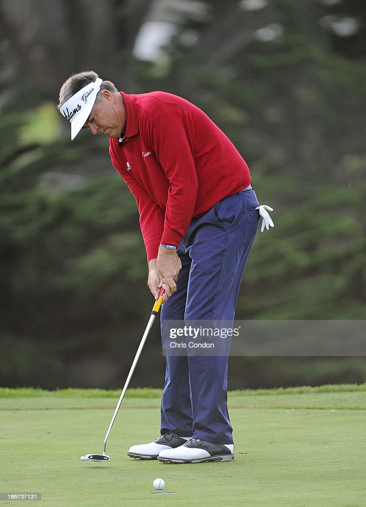 Kenny Perry putts for par on the 18th green during the final round of the Charles Schwab Cup Championship at TPC Harding Park on November 3, 2013 in San Francisco, California.