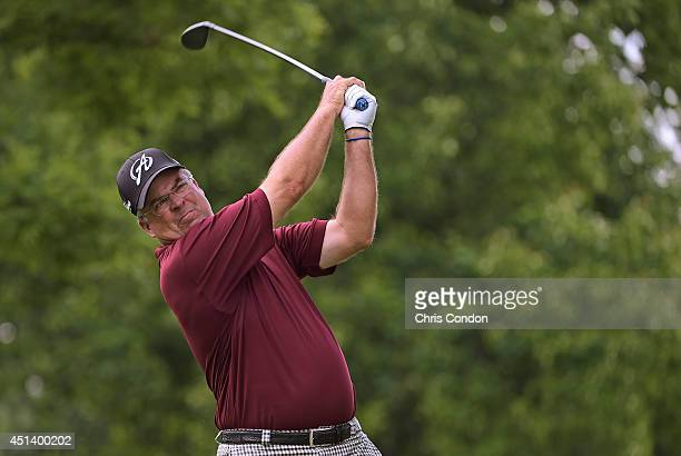 Kenny Perry ttees off on the 13th hole during the third round of the Constellation SENIOR PLAYERS Championship at Fox Chapel Golf Club on June 28,...
