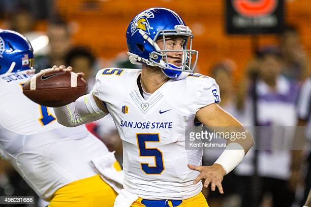 Kenny Potter of the San Jose State Spartans passes against the Hawaii Warriors during the first quarter of a college football game at Aloha Stadium...
