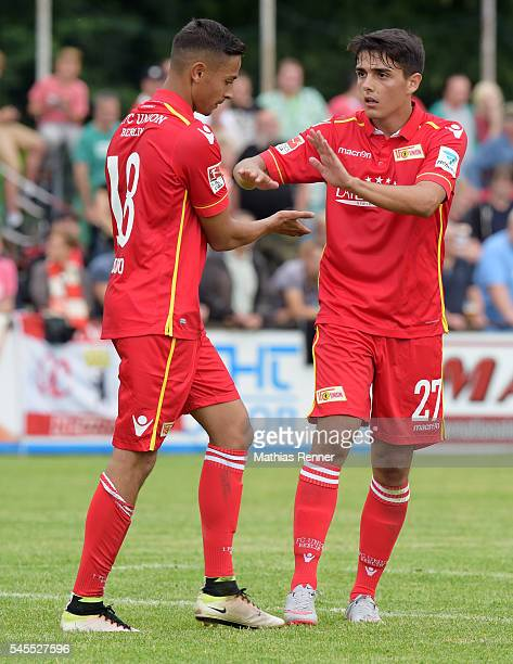 Kenny Prince Redondo and Eroll Zejnullahu of 1 FC Union Berlin during the test match between dem SV Zehdenick and Union Berlin on July 8 2016 in...