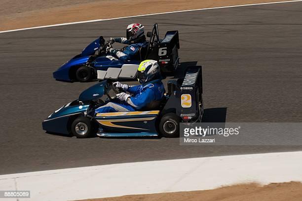 Kenny Roberts Jr and Wayne Rainey drive karts during the the preevent for MotoGP World Championship US GP at Mazda Raceway Laguna Seca on July 2 2009...