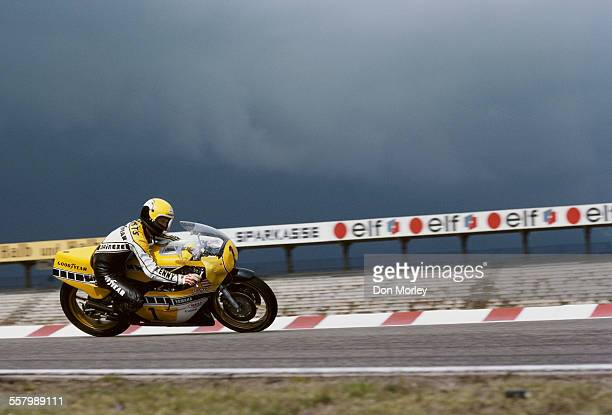 Kenny Roberts of the United States rides the Yamaha YZR 500 during the German motorcycle Grand Prix on 6 May 1979 at the Hockenheimring circuit in...