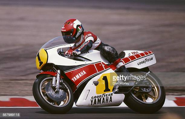 Kenny Roberts of the United States rides the Yamaha YZR 500 during the British 500cc motorcycle Grand Prix on 1 August1981 at the Silverstone Circuit...