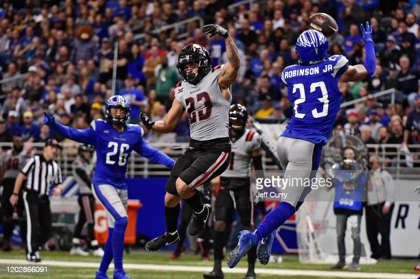 Kenny Robinson of the St Louis Battlehawks intercepts a pass intended for Justin Stockton of the NY Guardians during the first half of an XFL game at...