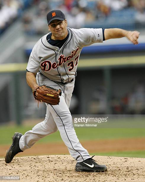 Kenny Rodgers pitcher of the Detroit Tigers on the mound during game action against the Chicago White Sox at US Cellular Field in Chicago Illinois on...