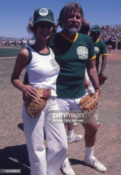 Kenny Rogers and his wife Marianne Gordon attend Kenny Rogers Charity Baseball game in 1977 in Las Vegas