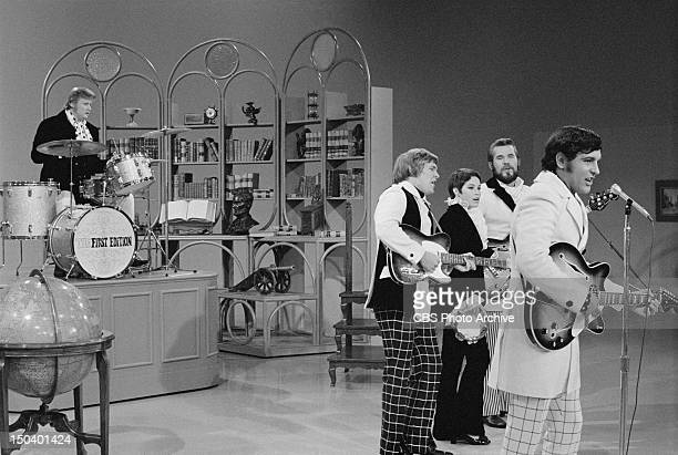 Kenny Rogers and The First Edition appear on The Smothers Brothers Comedy Hour Standing from left Terry Williams Thelma Camacho Kenny Rogers and Mike...