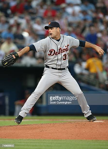 Kenny Rogers of the Detroit Tigers pitches against the Atlanta Braves at Turner Field on June 22 2007 in Atlanta Georgia The Tigers defeated the...
