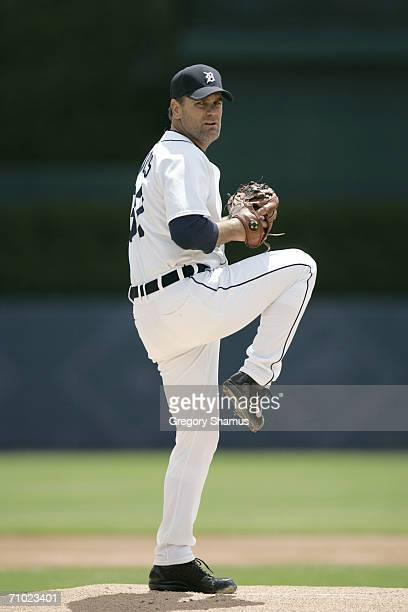 Kenny Rogers of the Detroit Tigers pitches against the Minnesota Twins on May 18 2006 at Comerica Park in Detroit Michigan The Tigers won 53