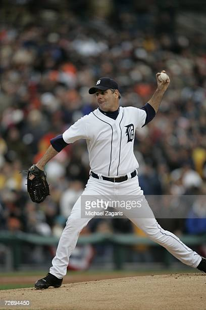 Kenny Rogers of the Detroit Tigers pitches during Game Three of the American League Championship Series against the Oakland Athletics on October 13,...