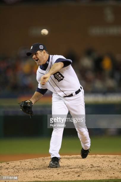Kenny Rogers of the Detroit Tigers pitches during Game Two of the 2006 World Series on October 22, 2006 at Comerica Park in Detroit, Michigan. The...