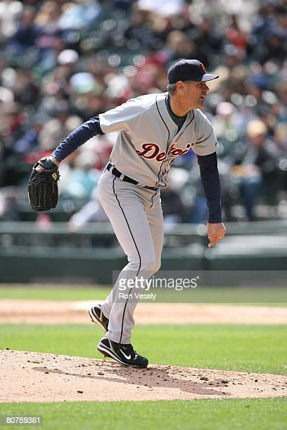 Kenny Rogers of the Detroit Tigers pitches during the game against the Chicago White Sox at U.S. Cellular Field in Chicago, Illinois on April 13,...