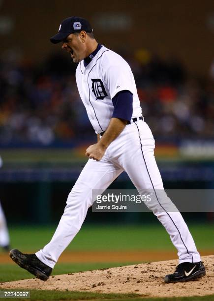 Kenny Rogers of the Detroit Tigers reacts after struck out Scott Rolen of the St. Louis Cardinals to end the top of the sixth inning during Game Two...