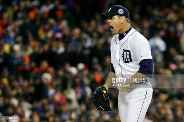 Kenny Rogers of the Detroit Tigers reacts against the St. Louis Cardinals during Game Two of 2006 World Series October 22, 2006 at Comerica Park in...