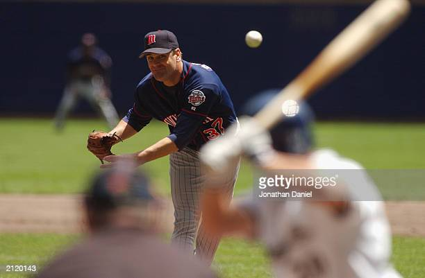 Kenny Rogers of the Minnesota Twins delivers the pitch during the interleague game against the Milwaukee Brewers on June 22 2003 at Miller Park in...