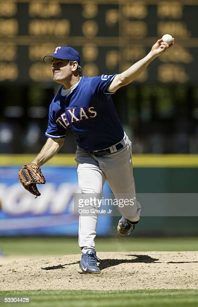 Kenny Rogers of the Texas Rangers pitches against the Seattle Mariners during the game on July 3 2005 at Safeco Field in Seattle Washington The...