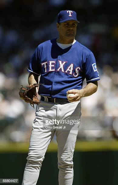 Kenny Rogers of the Texas Rangers stands on the field during the game against the Seattle Mariners on July 3 2005 at Safeco Field in Seattle...