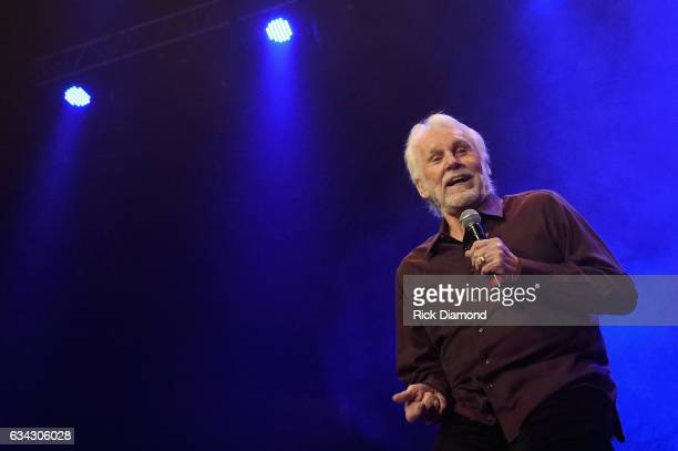 Kenny Rogers performs during 1 Night 1 Place 1 Time A Heroes Friends Tribute to Randy Travis at Bridgestone Arena on February 8 2017 in Nashville...