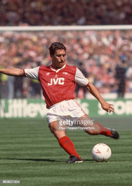 Kenny Sansom of Arsenal in action during the Littlewoods League Cup Final between Luton Town and Arsenal at Wembley Stadium on April 24 1988 in...