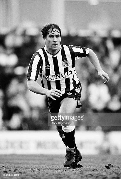 Kenny Sansom of Newcastle United in action against Aston Villa during their Division One match played at Villa Park Birmingham on 14th January 1989...