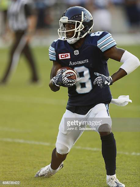 Kenny Shaw of the Toronto Argonauts after a pass reception against the Ottawa RedBlacks during a CFL game at BMO field on July 13 2016 in Toronto...