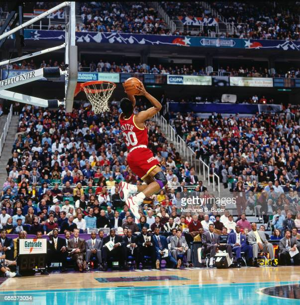 Kenny Smith attempts a dunk during the 1993 Slam Dunk Contest on February 20 1993 at the Delta Center in Salt Lake City Utah NOTE TO USER User...