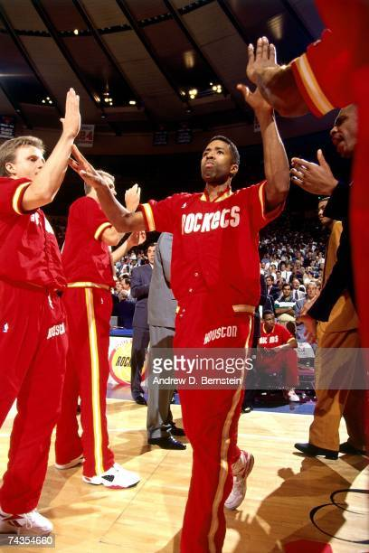 Kenny Smith of the Houston Rockets is introduced prior to Game Four of the NBA Finals played on June 15 1994 at Madison Square Garden in New York New...
