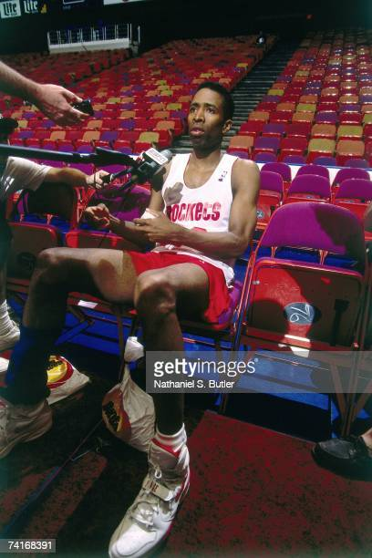 Kenny Smith of the Houston Rockets talks to the media prior to Game Seven of the NBA Finals against The New York Knicks played on June 22 1994 at The...
